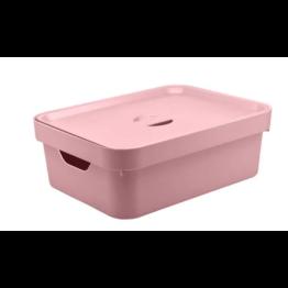 Caixa Organizadora Cube 10,5 Litros com Tampa - Rosa
