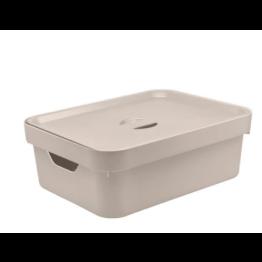 Caixa Organizadora Cube 10,5 Litros com Tampa - Bege