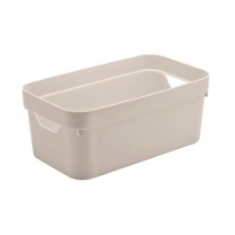 Caixa Organizadora Cube 5,3 Litros - Bege