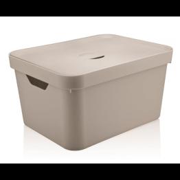 Caixa Organizadora Cube 32 Litros com Tampa - Bege