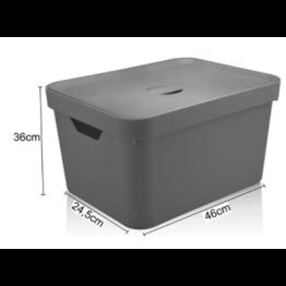 Caixa Organizadora Cube 32 Litros com Tampa - Chumbo